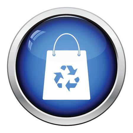 recycle sign: Shopping bag with recycle sign icon. Glossy button design. Vector illustration. Illustration