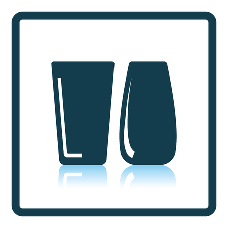 reflection of life: Two glasses icon. Shadow reflection design. Vector illustration.