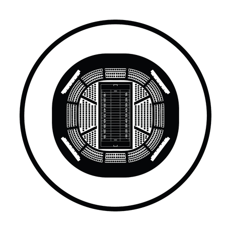 touchdown: American football stadium birds-eye view icon. Thin circle design. Vector illustration. Illustration