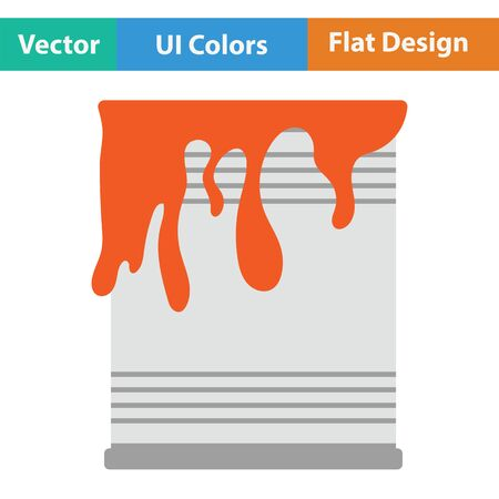 paint can: Paint can icon. Flat color design. Vector illustration.