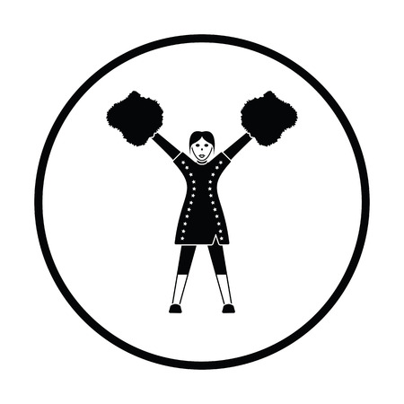 black cheerleader: American football cheerleader girl icon. Thin circle design. Vector illustration.