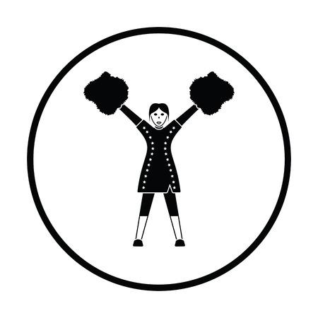 black cheerleader: American football cheerleader girl icon. Thin circle design. Vector illustration.