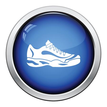 trainers: Tennis sneaker icon. Glossy button design. Vector illustration.
