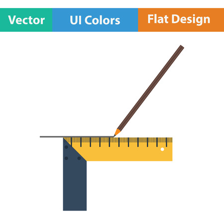 millimeter: Pencil line with scale icon. Flat color design. Vector illustration.