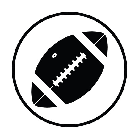 leather stitch: American football ball icon. Thin circle design. Vector illustration. Illustration