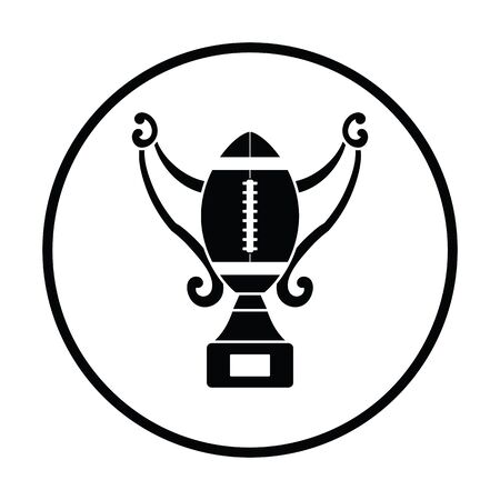 football trophy: American football trophy cup icon. Thin circle design. Vector illustration.
