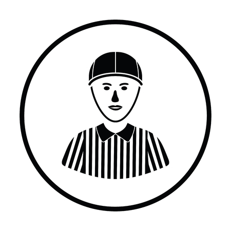 football referee: American football referee icon. Thin circle design. Vector illustration.
