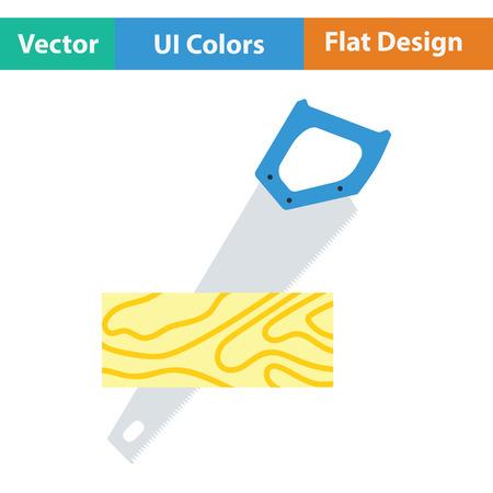serrucho: Serrucho cortando un icono del tablón. diseño de color plano. . Ilustración del vector. Vectores
