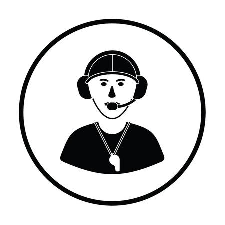 entrenador de fútbol americano del icono. diseño del círculo delgada. Ilustración del vector.