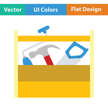 retro color: Retro tool box icon. Flat color design. Vector illustration.
