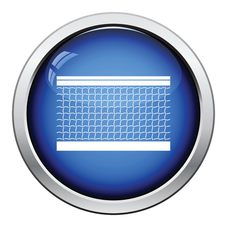 tennis net: Tennis net icon. Glossy button design. Vector illustration.