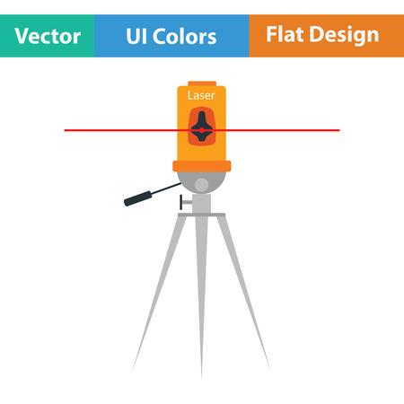levels: Laser level tool icon. Flat color design. Vector illustration. Illustration
