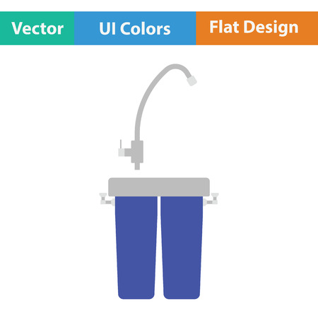 water filter: Water filter icon. Flat color design. Vector illustration.