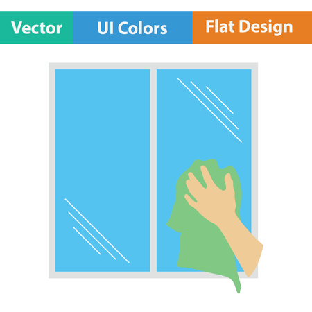 dry cleaner: Hand wiping window icon. Flat color design. Vector illustration.