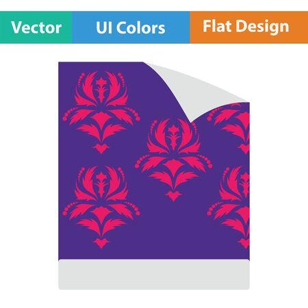 paperhanging: Wallpaper icon. Flat color design. Vector illustration.
