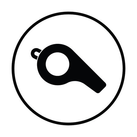 American football whistle icon. Thin circle design. Vector illustration.