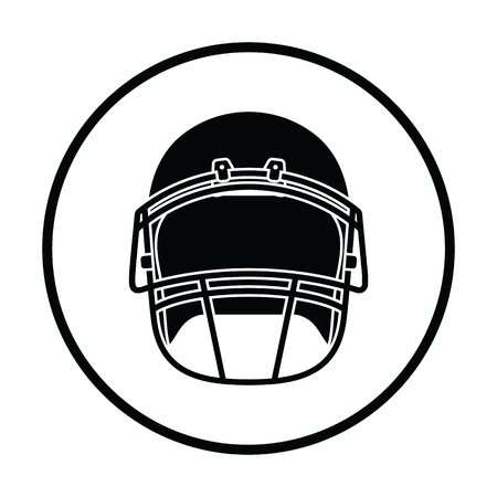 personalize: American football helmet icon. Thin circle design. Vector illustration.