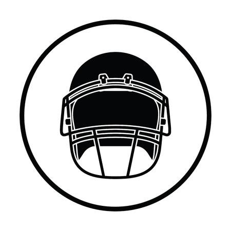 picked: American football helmet icon. Thin circle design. Vector illustration.