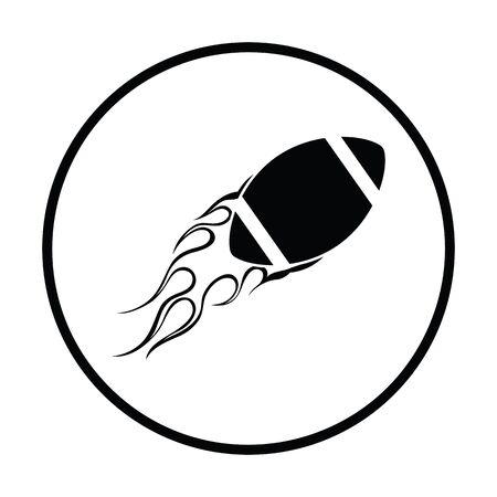 fire ball: American football fire ball icon. Thin circle design. Vector illustration.