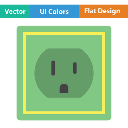 electric outlet: Electric outlet icon. Flat color design.  Vector illustration.