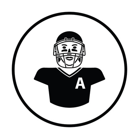 facemask: American football player icon. Thin circle design. Vector illustration. Illustration