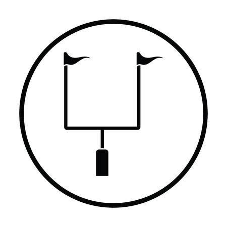football goal post: American football goal post icon. Thin circle design. Vector illustration.