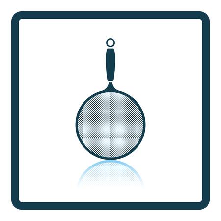 drainer: Kitchen colander icon. Shadow reflection design. Vector illustration.