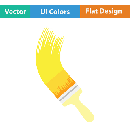 Paint brush icon. Flat color design. Vector illustration.