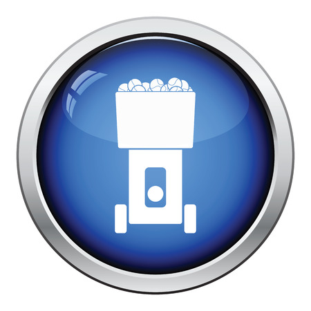 tennis serve: Tennis serve ball machine icon. Glossy button design. Vector illustration. Illustration