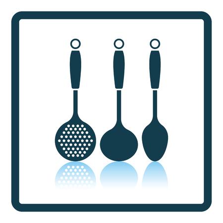 masher: Ladle set icon. Shadow reflection design. Vector illustration.