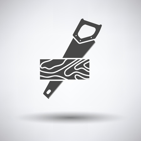 Handsaw cutting a plank icon on gray background, round shadow. Vector illustration.