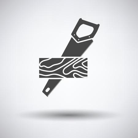 serrucho: Serrucho cortando un icono del tablón sobre fondo gris, redondo sombra. Ilustración del vector.