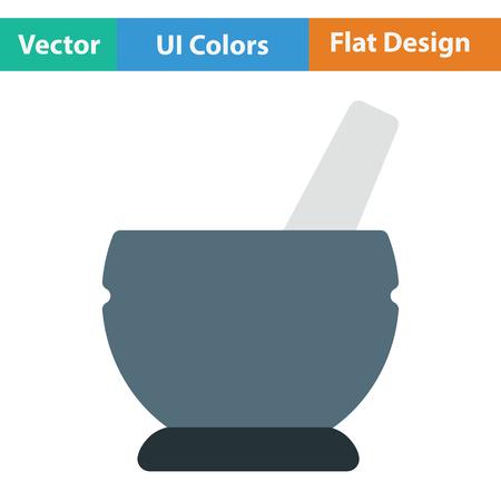 morter: Mortar and pestel icon. Flat color design. Vector illustration.