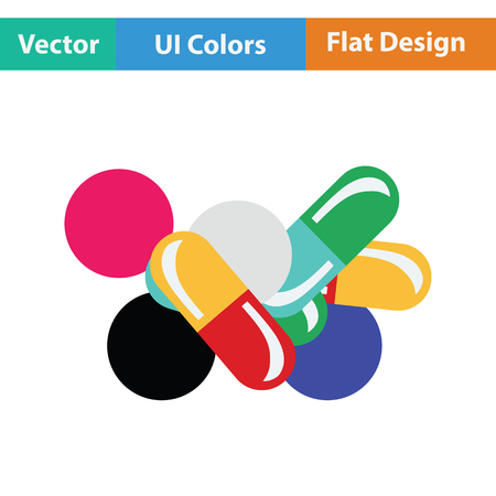 Pill and tabs icon. Flat color design. Vector illustration.