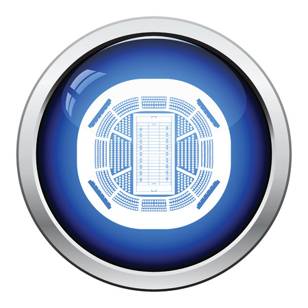 american football stadium: American football stadium birds-eye view icon. Glossy button design. Vector illustration.