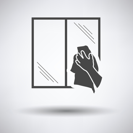 dry cleaner: Hand wiping window icon on gray background, round shadow. Vector illustration.
