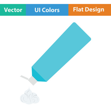 toothpaste tube: Toothpaste tube icon. Flat color design. Vector illustration. Illustration