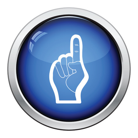 futbol: American football foam finger icon. Glossy button design. Vector illustration. Illustration