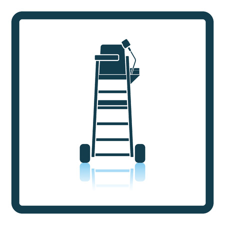 exercise equipment: Tennis referee chair tower icon. Shadow reflection design. Vector illustration.