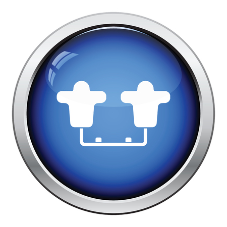 sled: American football  tackling sled icon. Glossy button design. Vector illustration.