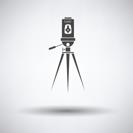 accuracy: Laser level tool icon on gray background, round shadow. Vector illustration.
