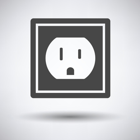 receptacle: Electric outlet icon on gray background, round shadow. Vector illustration. Illustration