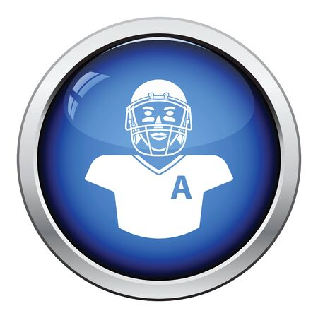 sport cartoon: American football player icon. Glossy button design. Vector illustration.