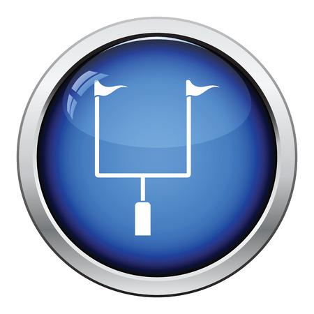 football goal post: American football goal post icon. Glossy button design. Vector illustration. Illustration