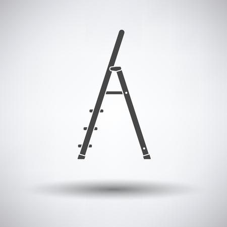 metallic stairs: Construction ladder icon on gray background, round shadow. Vector illustration. Illustration