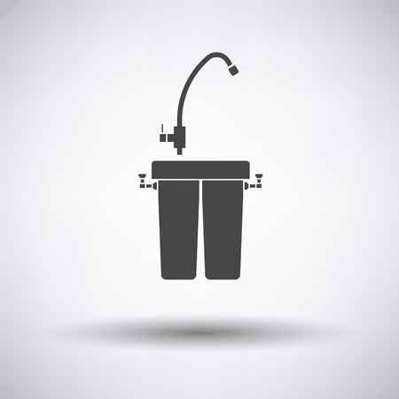 water filter: Water filter icon on gray background, round shadow. Vector illustration.