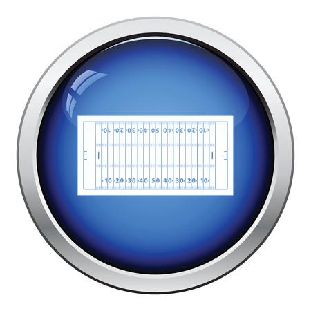 button grass: American football field mark icon. Glossy button design. Vector illustration.