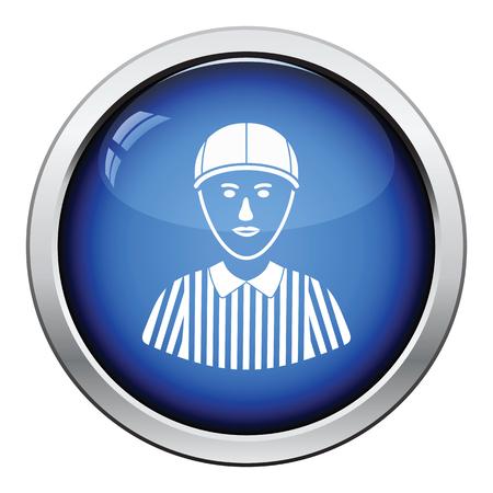 football referee: American football referee icon. Glossy button design. Vector illustration. Illustration