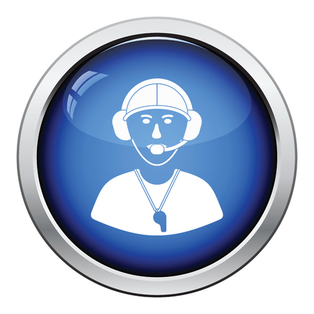football coach: American football coach icon. Glossy button design. Vector illustration.