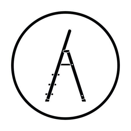 clambering: Construction ladder icon. Thin circle design. Vector illustration.